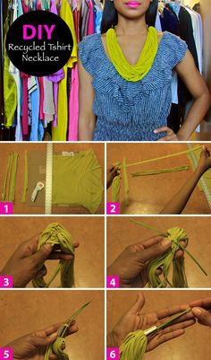 DIY recycled tshirt necklace