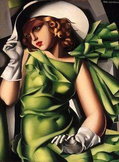 Jeune femme à la robe verte, par Tamara de Lempicka