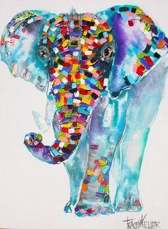 Blue by Tracey Keller x 75 acrylic on canvas Elephant Images, Elephant Pictures, Elephant Art, Watercolor Animals, Watercolor Art, Art Fantaisiste, Colorful Animals, Arte Pop, Whimsical Art