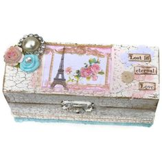 Jewelry Keepsake Box Eiffel Tower Shabby Chic by BlissfulBoxes, $40.00