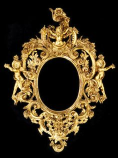 An Italian Rococo style giltwood mirror -  third quarter 19th century -  The beveled oval plate surmounted by a putto within exuberantly carved volute scrolls, acanthus and floral swags, flanked by a pair of putti with arms outstretched bearing floral offerings all above a satyr's mask. height 65in (165cm); width 51in (129cm)