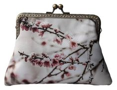 Your place to buy and sell all things handmade Floral Clutch Bags, Floral Clutches, Handmade Clutch, Pink Blossom, Shoulder Purse, Satin Fabric, Hand Sewing, Coin Purse, Etsy Shop