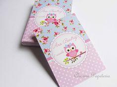 Adesivo para tubete tema corujinha azul e rosa floral - charme papeteria estúdio criativo