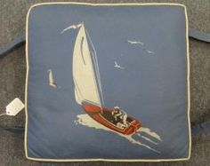 Vintage Boat Cushion Life Preserver Sailboat Design