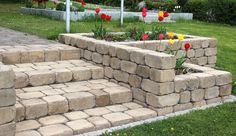Treppe, Mauer und Blumentrog als Hochbeet passen alle perfekt zusammen. Verwendet wurde Lahnstein.  Ideal für alle Selbermacher.  #pflaster #pflastersteine #mauer  #treppe  #lahnstein Sidewalk, Inspiration, Patio, Paving Slabs, Garden Path, Stairways, Biblical Inspiration, Walkways, Pavement
