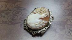 Circa 1860's shell cameo pendant set in 14K white gold filigree