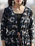 Indigo Brown Beige Hand Block Cotton Dress With Tie-Up Waist And Black Inner - D85F1143