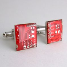 SALE Circuit Board Cufflinks  Red Square Domed by Techcycled, $35.75