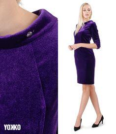 Velvet Touch #yokko #madeinromania #romanianbrand #qualityfashion #fashionwelove #velvet #velvetdress #cocktaildress #fall19 Swarovski, Velvet, Magic, Slim, Touch, Elegant, Skirts, How To Make, Jackets