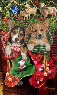 "Corgi Christmas cards are 8 1/2"" x 5 1/2"" and come in packages of 12 cards. One design per package. All designs include envelopes, your personal message, and choice of greeting. Select the greeting of your choice from the drop-down menu above. Add your personal message to the Comments box during checkout."