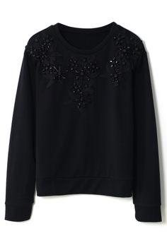 Flower Beads Black Sweat Top//