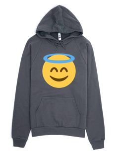 Emoji Clothing - Angel Emoji Hoodie! A face with a halo above it, used to represent an angel, or being a good person or having done a good deed. | This American Apparel hoodie is made out of California fleece which, opposed to typical synthetic fleece, is made of 100% extra soft ring-spun combed cotton. This is emoji clothing done right!