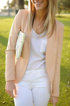 Weekend + Work: Nude Blazer + White Tee + White Pants + Beaded Clutch