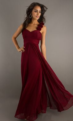 Flowing Floor Length Gown - beautiful cut but not sure about the roses.
