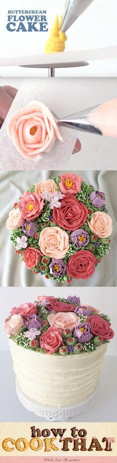Pretty Buttercream flower cake by howtocookthat https://www.howtocookthat.net/public_html/pretty-butter-cream-flower-cake/