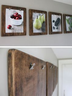 DIY Photo Clipboards | 27 DIY Rustic Decor Ideas for the Home | DIY Rustic Home Decorating on a Budget / so cute!! Maybe in the kitchen?