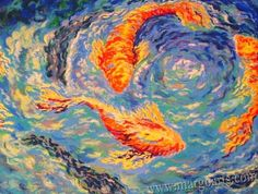 Gold Fish Oil Pastel Fishes Oil Pastel Impressionism