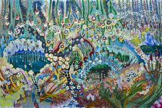 "Saatchi Art Artist: Lia Porto; Acrylic 2013 Painting ""brilliant blackbirds on the grass near the river"""