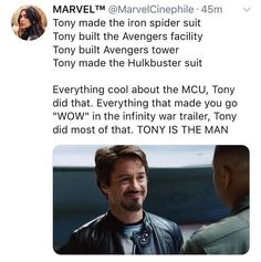 Marvel Studios, LLC is an American motion picture studio based at the Walt Disney Studios in Burbank, California and is a subsidiary of Walt Disney Studios, itself a wholly owned division of The Walt Disney Company,! Avengers Memes, Marvel Memes, Marvel Dc Comics, Marvel Avengers, Iron Man Tony Stark, Dc Memes, Robert Downey Jr, Marvel Characters, Marvel Cinematic Universe