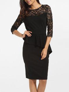 #AdoreWe #FashionMia Bodycon Dresses - FashionMia Falbala Round Neck Dacron Hollow Out Patchwork Plain Bodycon Dress - AdoreWe.com