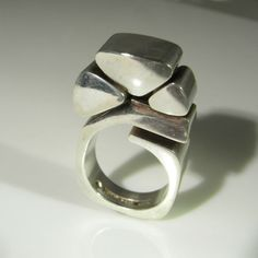 Geometric Ring Modernist Ring Silver Statement Ring by SalonUber Statement Rings, Finland, 1970s, Rings For Men, Silver Rings, Mid Century, Unique Jewelry, Handmade Gifts, Ebay
