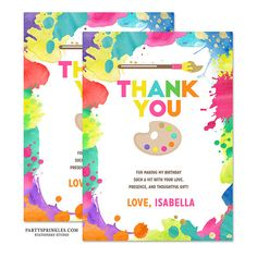 Art Birthday Party Thank you Notes cards