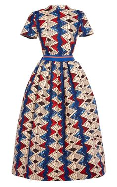Shop Myrtle Printed Wax Cotton Party Dress With Striped Bow by Stella Jean for Preorder on Moda Operandi