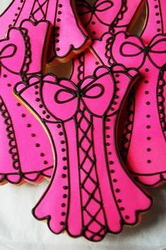 Adorable corset sugar cookies decorated with royal icing.
