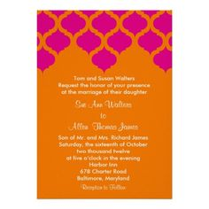 orange and hot pink indian arch print custom announcements sister wedding birthday party themes