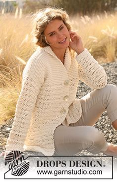 DROPS 129-22 Jacket - Free Knitted Pattern - (garnstudio)