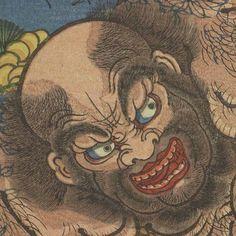太田記念美術館(@ukiyoeota)さん | ・ こちらは顔のアップ。恐ろしい形相に目が行きがちですが注目したいのは髪や眉、髭の繊細な表現。彫師、摺師の高い技術に支えられた、精緻な細部描写も国芳作品の見どころのひとつです