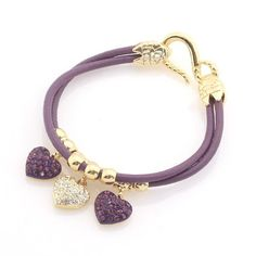"""Rhinestone Heart Charm Bracelet; 8""""L; Gold Metal Hardware; Purple Cord Chain; Heart Charms With Purple And Clear Rhineston... for only $28.99"""