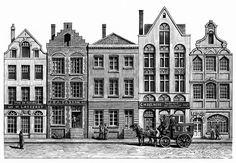 Belgian Street Scene for biscuit tin.