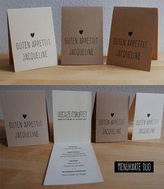 Für das kleine Hochzeitsmenü: Menükarte und Platzkarte in einem!