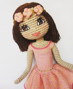 Kindabam Crochet . One last photo of this cutie with her flower headband 💕 #doll #crochet #crochetdoll #handmadedoll #amigurumi #amigurumidoll #custommadedoll #eyesembroidery
