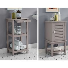 These cabinets are perfect for a small bathroom to add vital storage and shelving. Shutter doors close off the top portion and are painted in a trendy grey color that will fit many bathroom color schemes.