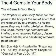 the four gems in your body as said by Prophet Muhammed PBUH