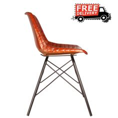 INDUSTRIAL STYLE DINING LEATHER BROWN LEATHER CHAIR METAL DINING CHAIRS 7699 A