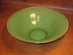 Green Bowl Indiana Glass Vintage Art Deco