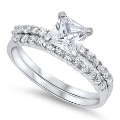 2.00 Carat Princess Cut Round Russian Diamond CZ Solitaire Accent Dazzling Wedding Engagement Bridal Ring Band Set Solid 925 Sterling Silver