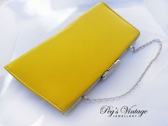 Vintage Faux Leather Purse, Bright YELLOW Vinyl Clutch Bag, Handbag Evening Bag, Retro MAD MEN Fashion Accessory by PegsVintageJewellery on Etsy