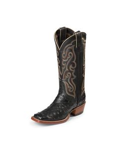 Women's Black Full Quill Ostrich Square Toe Boot