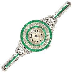 Edwardian Platinum, Diamond and Emerald Wristwatch