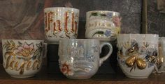 European Lustre wear sentiment cups
