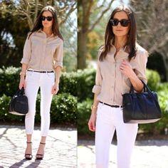 Blouse, capri jeans, heels