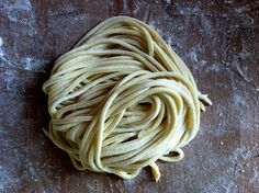 Vegan Fresh Pasta Dough, with instructions for mixing with stand mixer and shaping with pasta maker.