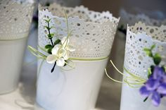 £10 White Lace Pots filled with a candle. I think I will have these for my wedding tables.  Fill with your favourite scented candle.