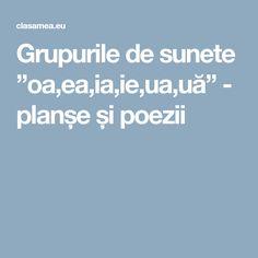 """Grupurile de sunete """"oa,ea,ia,ie,ua,uă"""" - planșe și poezii Education, Onderwijs, Learning"""