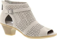 """Easy Street Women's Shoes in Gray Color. The transition to warmer weather is made effortless with this chic shootie. Synthetic upper with cutouts a buckled strap and pretty peep toe. Back zipper closure. Lightly cushioned footbed. 2"""" stacked-look heel #EasyStreet #gray #shoes #fashion #style"""