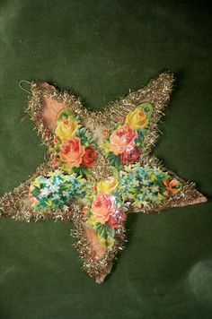 "Antique Victorian Xmas Crepepaper Die Cut Wired Star Ornament 7 1 2""Dated 1899 